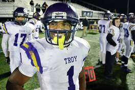 Troy's #1 Joey Ward is all smiles as they defeat Saratoga High in the Class AA Super Bowl Friday Nov. 3, 2017 at UAlbany's Casey Stadium in Albany, NY.  (John Carl D'Annibale / Times Union)