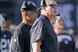 Oakland Raiders head coach Jack Del Rio, right, and defensive coordinator Ken Norton Jr. watch from the sideline during the second half of an NFL football game against the Los Angeles Chargers in Oakland, Calif., Sunday, Oct. 15, 2017. The Chargers won 17-16. (AP Photo/D. Ross Cameron)