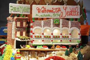 "The 25th Annual Gingerbread Village is on display at the Sheraton Seattle Hotel until January 1, 2018. Donations from visitors raise money for the Northwest Chapter of JDRF, the Juvenile Diabetes Research Fund. Sheraton culinary staff teamed up with local architecture firms to build the gingerbread village. This year the theme is ""25 Years of Cheer: A Celebration of Seattle"" and features gingerbread creations of Seattle's past and future."