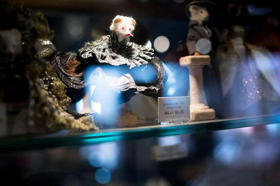 """Elegantly dressed mice line a """"Mouse Couture"""" display at Helpers Bazaar on Wednesday, Nov. 22, 2017, in San Francisco."""