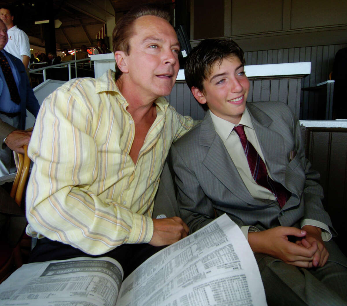 Times Union Staff Photo by Skip Dickstein Entertainer David Cassidy with his son Bo enjoy the day at the Saratoga Race Course in Saratoga Springs, New York July 29, 2005.