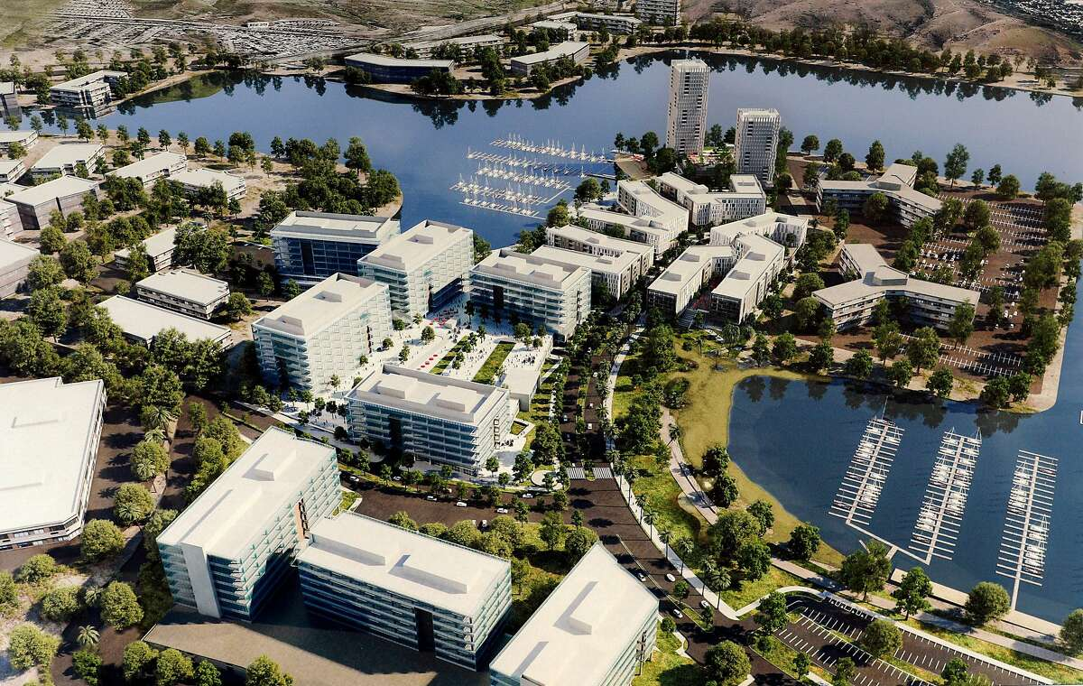 """An illustration of Oyster Point Marina where a proposed development of 1100 residential units is being encouraged by the city of South San Francisco, Calif., Wednesday, November 22, 2017. The area east of Hwy 101 has long been the heart of South San Francisco's business base - the engine behind the town's historic claim to be """"The Industrial City."""""""