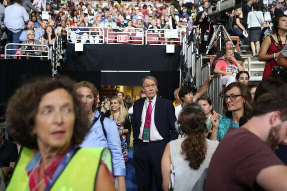FILE -- Charlie Rose on the first day of the Democratic National Convention in Philadelphia, July 25, 2016. After allegations surfaced in November 2017 that the longtime television host made crude sexual advances toward multiple women who worked on his show over a dozen years, CBS suspended him from its morning program and PBS announced it will no longer distribute his long-running nightly interview show. (Sam Hodgson/The New York Times)