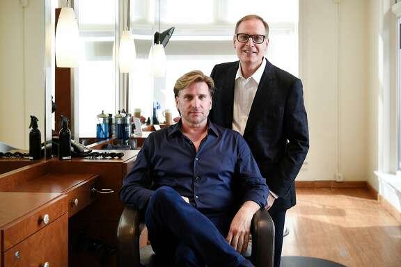 Owners Joseph Cozza, left, and Joe Bisazza pose for a portrait at Joseph Cozza Salon in San Francisco, CA, on Thursday November 2, 2017.
