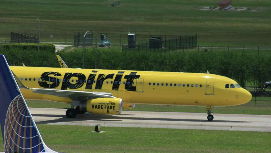 A Spirit Airlines Airbus jet taxis at Bush Intercontinental Airport in Houston in late April 2017. Photo: Bill Montgomery
