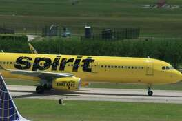 A Spirit Airlines Airbus jet taxis at Bush Intercontinental Airport in Houston in late April 2017.