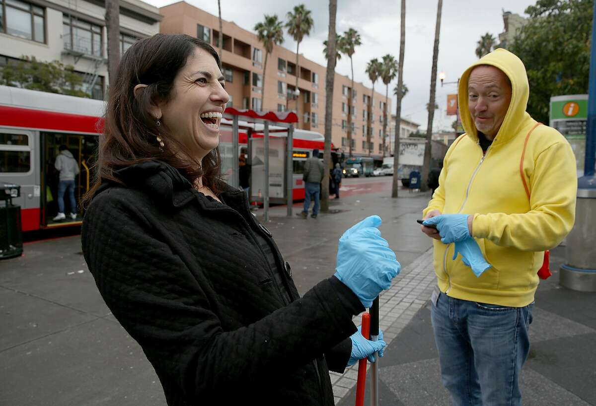Supervisor Hillary Ronen (left) and former supervisor Bevan Dufty (right) give details on some of what they sometimes found and would have to trash on Wednesday, November 15, 2017, in San Francisco, Calif.