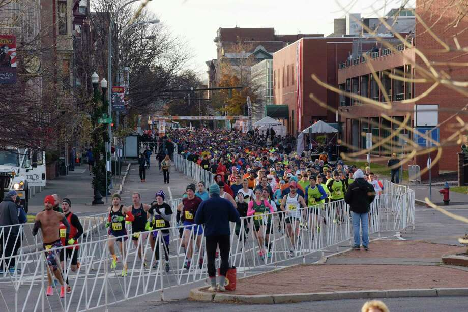Runners make their way along the course in the 10K race at the 70th annual Troy Turkey Trot on Thursday, Nov. 23, 2017, in Troy, N.Y.   (Paul Buckowski / Times Union) Photo: PAUL BUCKOWSKI / 20042187A