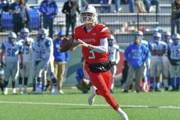 Will Lucas (3) of the Fairfield Prep Jesuits looks for a receiver during the Thanksgiving Day game against the West Haven Blue Devils at Fairfield University on Thursday November 23, 2017 in Fairfield, Connecticut.