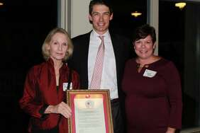At the presentation of the Friend of the Green Award at The Gunnery's Town Party (Left to right: Gail Berner, Peter Becker, Anne Block