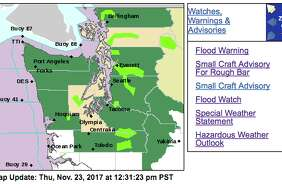 Major flooding on the Skagit River, north of Seattle, triggered evacuation notices for riverside communities. Other rivers around Western Washington were under varying levels of flooding Thursday (areas shown in light green are flood warning areas).