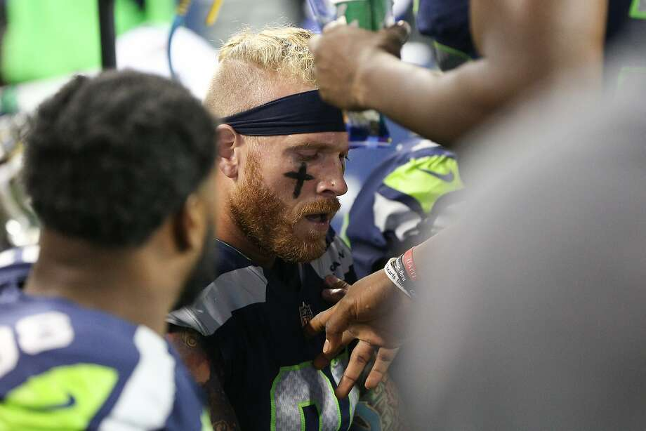 Seahawks defensive lineman Cassius Marsh reacts after having a near scuffle with linebacker Bobby Wagner after a disagreement in the second half of a preseason game at CenturyLink Field on Friday, Aug. 18, 2017. (GRANT HINDSLEY, seattlepi.com) Photo: GRANT HINDSLEY, SEATTLEPI.COM