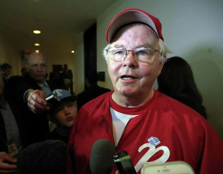 """In this June 14, 2017, file photo, Rep. Joe Barton, R-Texas, speaks to reporters on Capitol Hill in Washington, about the incident where House Majority Whip Steve Scalise of La., and others, were shot during a Congressional baseball practice. Barton apologized after a nude photo of him circulated on social media. Barton released a statement on Nov. 22 to the Texas Tribune acknowledging that while separated from his second wife, prior to their divorce, he had sexual relationships """"with other mature adult women."""" Photo: Manuel Balce Ceneta /Associated Press / Copyright 2017 The Associated Press. All rights reserved."""