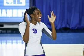 Willis' De'Janae Gilmore (9) celebrates during the Region III 5A UIL volleyball semi-finals against Kingwood Park on Friday, Nov. 10, 2017, at Delmar Fieldhouse. (Michael Minasi / Houston Chronicle)