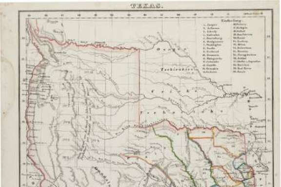 A Carl Flemming map of Texas. The early Republic of Texas map detailed the original boundaries as well as towns and the locations of Indian tribes.