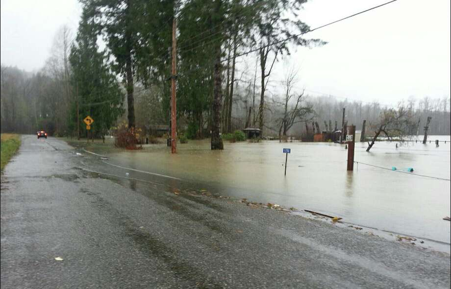 The Skagit River overflows its banks east of Concrete along Thunderbird Lane. The river reached major flood stage on Thursday and triggered evacuations in Hamilton. The river was expected to continue flooding through Friday as the crest moved downstream toward Mount Vernon. Photo: Skagit County DEM