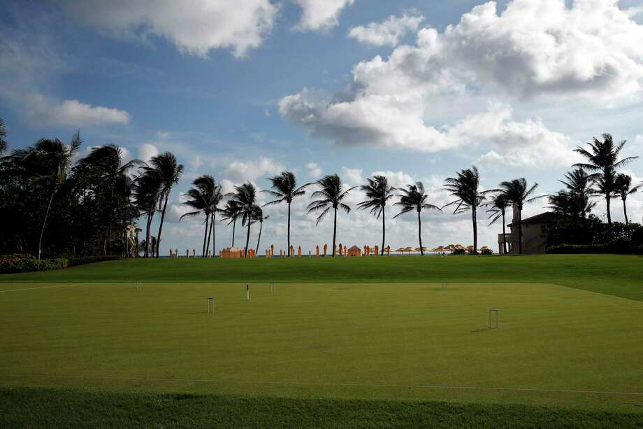 The palm trees, beach, and a croquet set are seen at President Donald Trump's private club Mar-a-Lago, on Thanksgiving, Thursday, Nov. 23, 2017, in Palm Beach, Fla. (AP Photo/Alex Brandon) Photo: Alex Brandon, STF / Copyright 2017 The Associated Press. All rights reserved.