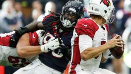 Hard-rushing outside linebacker Jadeveon Clowney (90) could use a little help if the Texans' defense hopes to continue pressuring QBs like it did Blaine Gabbert last game.