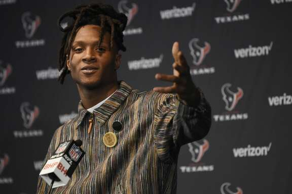 Houston Texans wide receiver DeAndre Hopkins talks to the media following an NFL football game against the Arizona Cardinals, Sunday, Nov. 19, 2017, in Houston. (AP Photo/Eric Christian Smith)