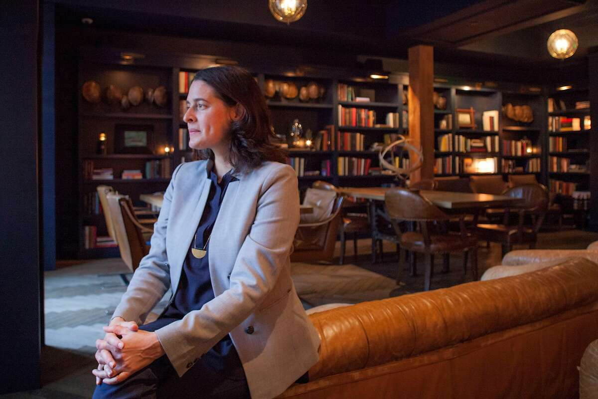 Jules Shell, Managing Editor of Candy Magazine & Brand Director in the library at The Battery in San Francisco, California, USA 16 Nov 2017.