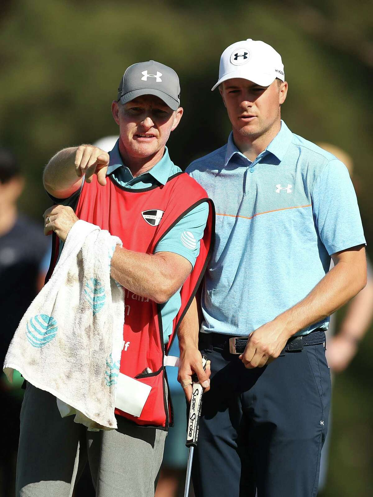 SYDNEY, AUSTRALIA - NOVEMBER 24: Jordan Spieth of the United States and swing coach and caddie for the week Cameron McCormick speak on the 15th hole during day two of the 2017 Australian Golf Open at the Australian Golf Club on November 24, 2017 in Sydney, Australia. (Photo by Mark Metcalfe/Getty Images)