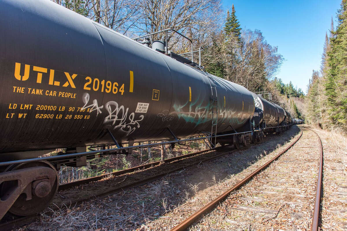 Tanker car displays the UTLX marking for the Union Tank Car Co., which is owned by a subsidiary of the Berkshire Hathaway investment firm headed by billionaire Warren Buffet.
