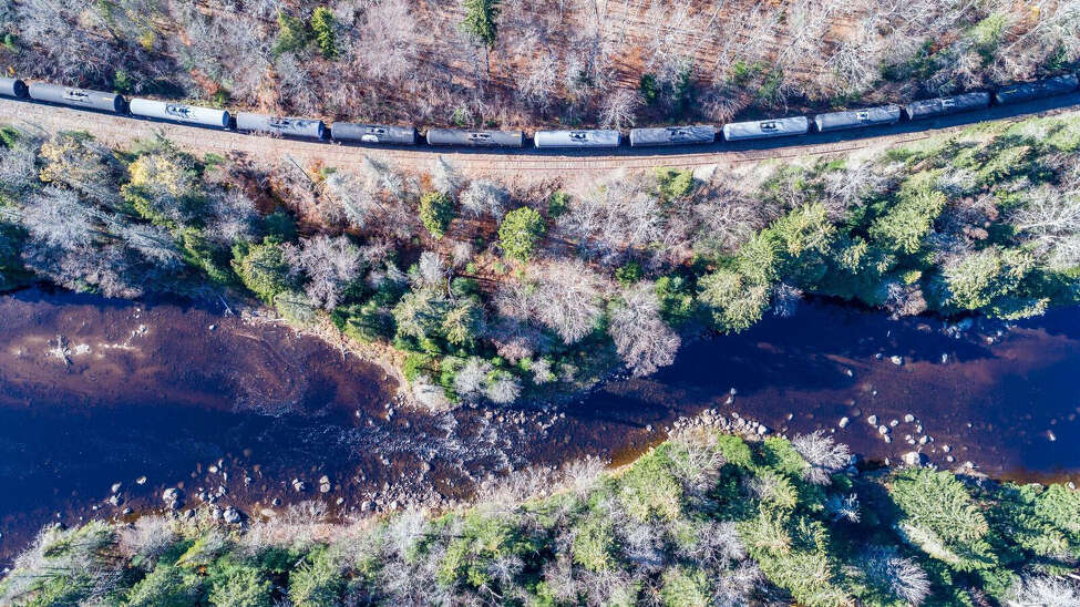 Some oil tankers parked near the Boreas River in the Adirondacks.