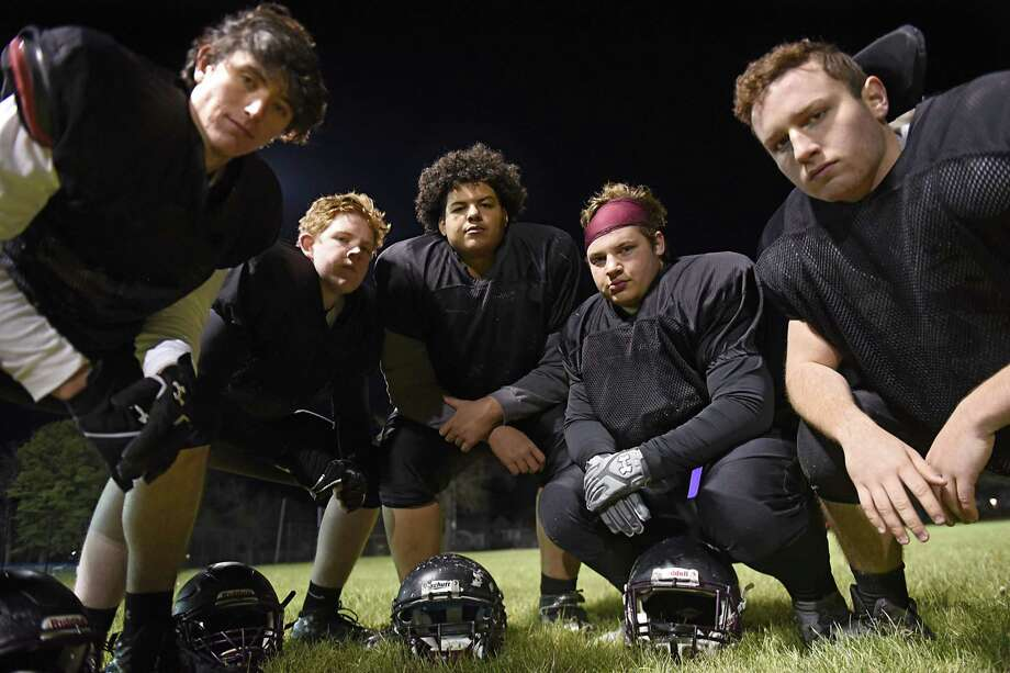 Holy Trinity all-senior offensive line of tackles, from left, Liam Maloney, Tom Thayer, guards Sammy Quinones, Jacob Marrone and center Sam Lock on Tuesday, Nov. 21, 2017 in Schenectady, N.Y. (Lori Van Buren / Times Union) Photo: Lori Van Buren / 20042199A
