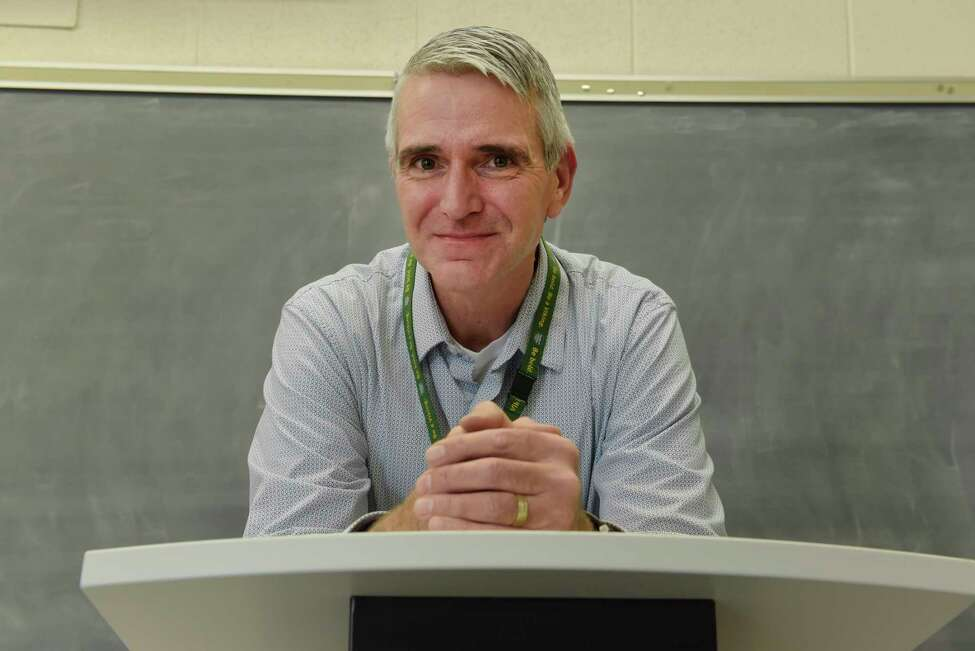 Brian Farr, a Hudson Valley Community College assistant professor in the Chemical Dependency Counseling Program and coordinator of the program's internship program, poses for a photo in a classroom on Monday, Nov. 20, 2017, in Troy, N.Y. (Paul Buckowski / Times Union)