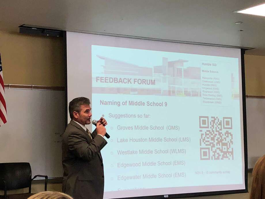 Kenneth Hodgkinson speaks at the Lake Houston Chamber of Commerce's Atascocita BizCom lunch Nov. 2 at Atascocita High School. Hodgkinson is principal of the new middle school under construction in The Groves. Photo: Julie Silva