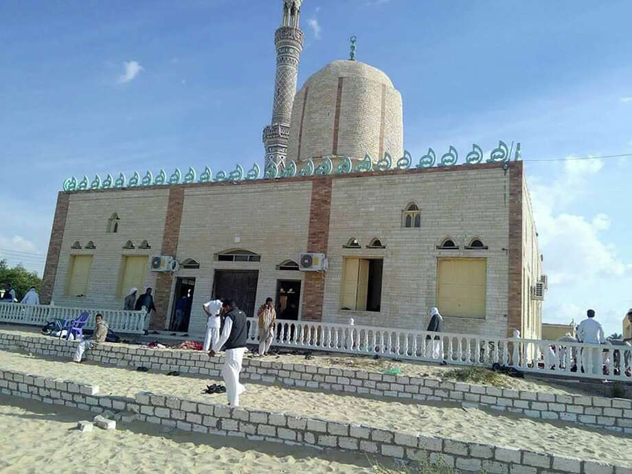View of the Rawda mosque, roughly 40 kilometres west of the North Sinai capital of El-Arish, after a gun and bombing attack, on November 24, 2017. A bomb explosion ripped through the mosque before gunmen opened fire on the worshippers gathered for weekly Friday prayers, officials said.  / AFP PHOTO / STRINGER        (Photo credit should read STRINGER/AFP/Getty Images) Photo: STRINGER/AFP/Getty Images