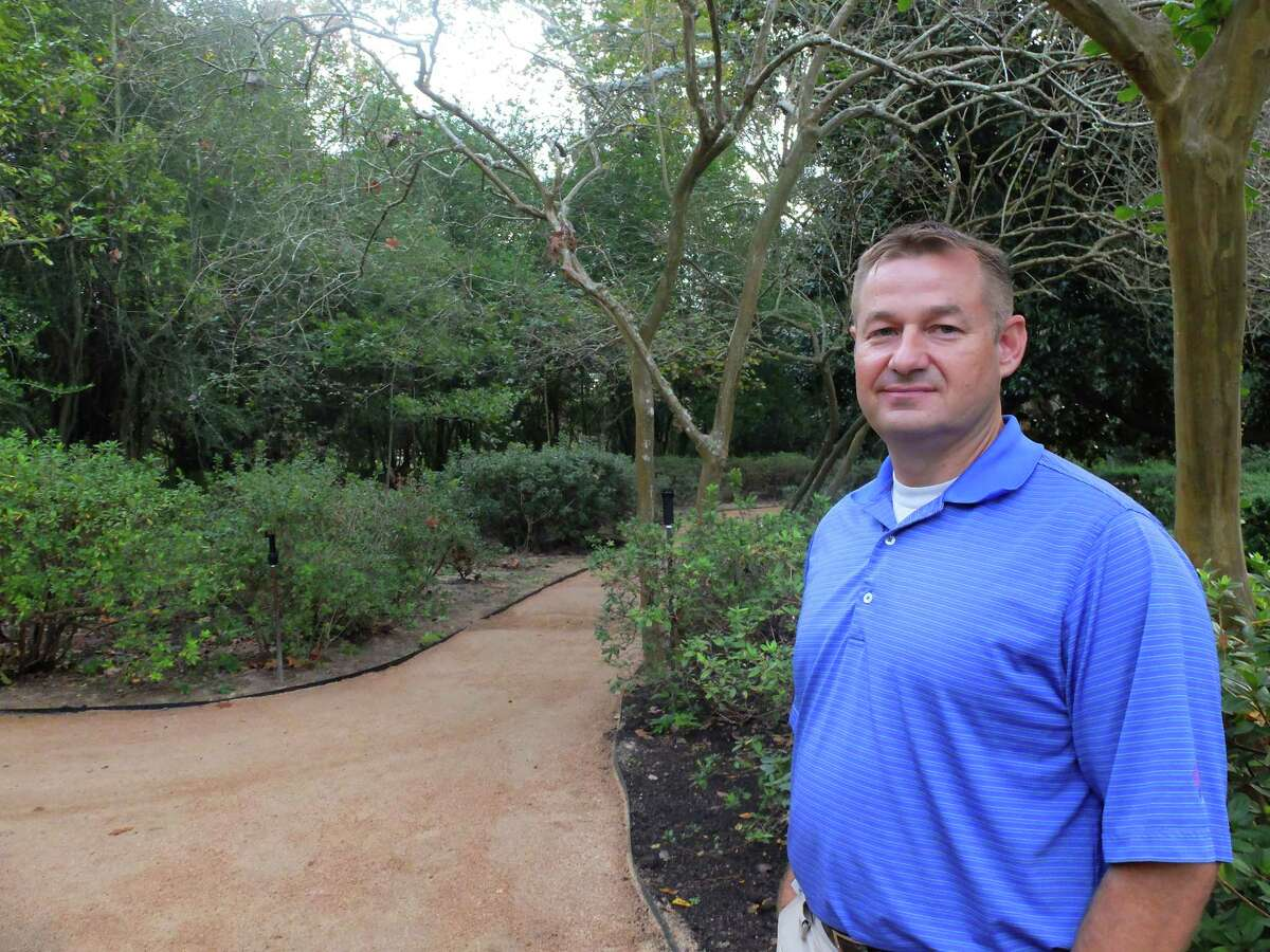 Bart Brechter, curator of gardens at Bayou Bend, stands on the recently-rebuilt paths of the historic property on Friday, Nov. 17, 2017.