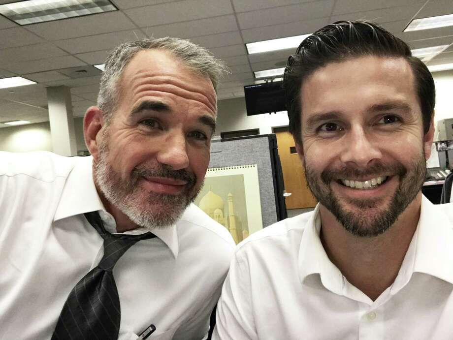 KENS-TV anchors Jeff Brady and Phil Anaya have gotten hairier for a cause — Movember or No-Shave November — which raise awareness of men's oft-ignored health issues. Photo: Courtesy KENS 5