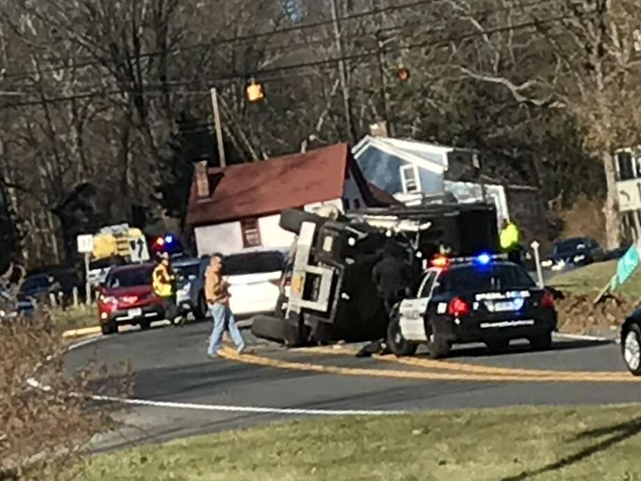 Route 7 is closed near the intersection with Route 37 after a dump truck rolled over. Photo: Cheryl R Lucas, Contributed
