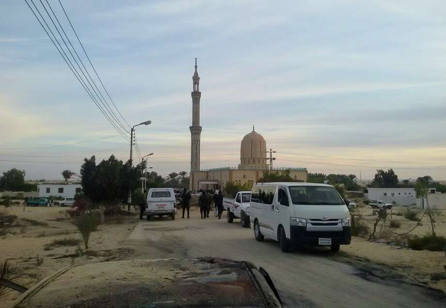 Security forces take security measures at the site of the Egypt Sinai mosque bombing in Al-Arish, Egypt on November 24, 2017. The death toll from a bomb that went off outside a mosque in the city of Al-Arish in the northern Sinai Peninsula following Friday prayers has climbed to a whopping 235, according to official sources. At least 109 others were injured in the blast, which occurred in the city's Al-Rawda neighborhood. Photo: Anadolu Agency/Getty Images