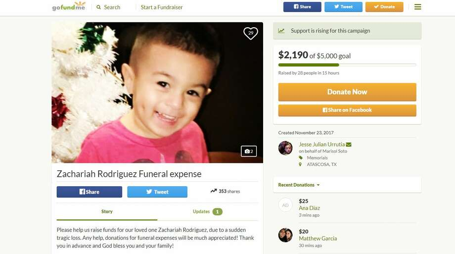 The child, Zachariah Rodriguez, was run over just after 11:30 a.m. a home in the 81800 block of Hermosa Valley. Photo: GoFundMe