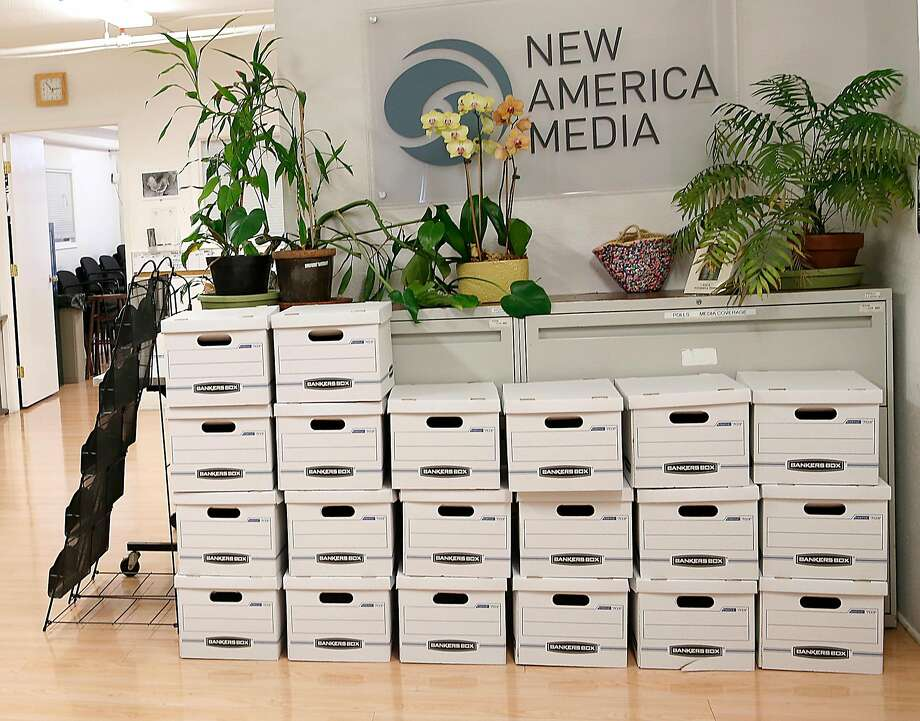 Empty boxes are stacked to pack office files at the newsroom on Ninth Street in South of Market. New America Media, which once had 90 employees, gave youth and those outside the mainstream a voice. Photo: Liz Hafalia, The Chronicle
