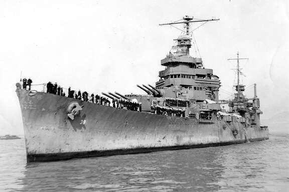 Battle-scarred heavy cruiser USS San Francisco returns to the Bay Area December 11, 1942 Official U.S. Navy photo  Photo ran12/12/1942, P. 1