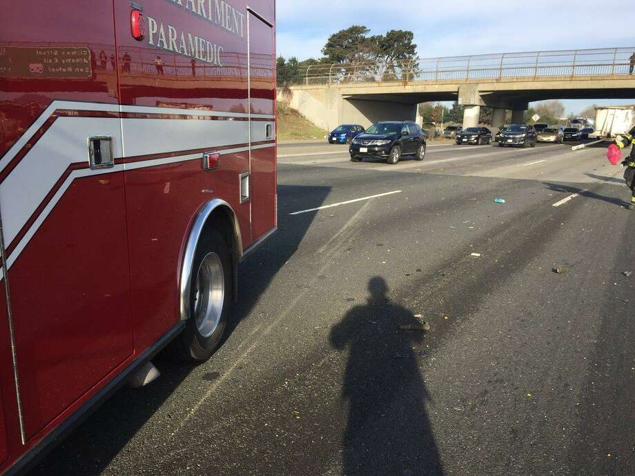 The driver of a semi-trailer was ejected from his vehicle after hitting a pillar at an overpass on Interstate 80 in Berkeley, officials said. Photo: California Highway Patrol / California Highway Patrol