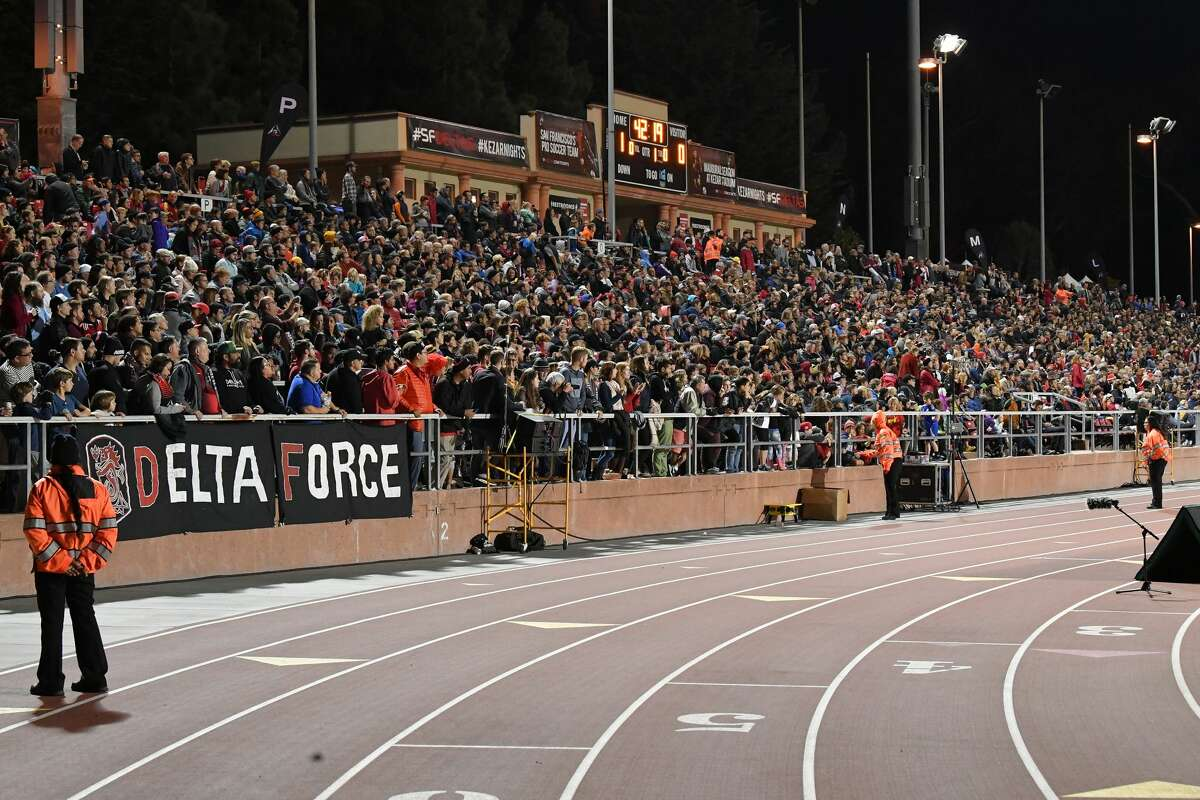 A capacity crowd watches the NASL finals on November 12, 2017 in San Francisco between the New York Cosmos and San Francisco Deltas at Kezar Stadium in Golden Gate Park.