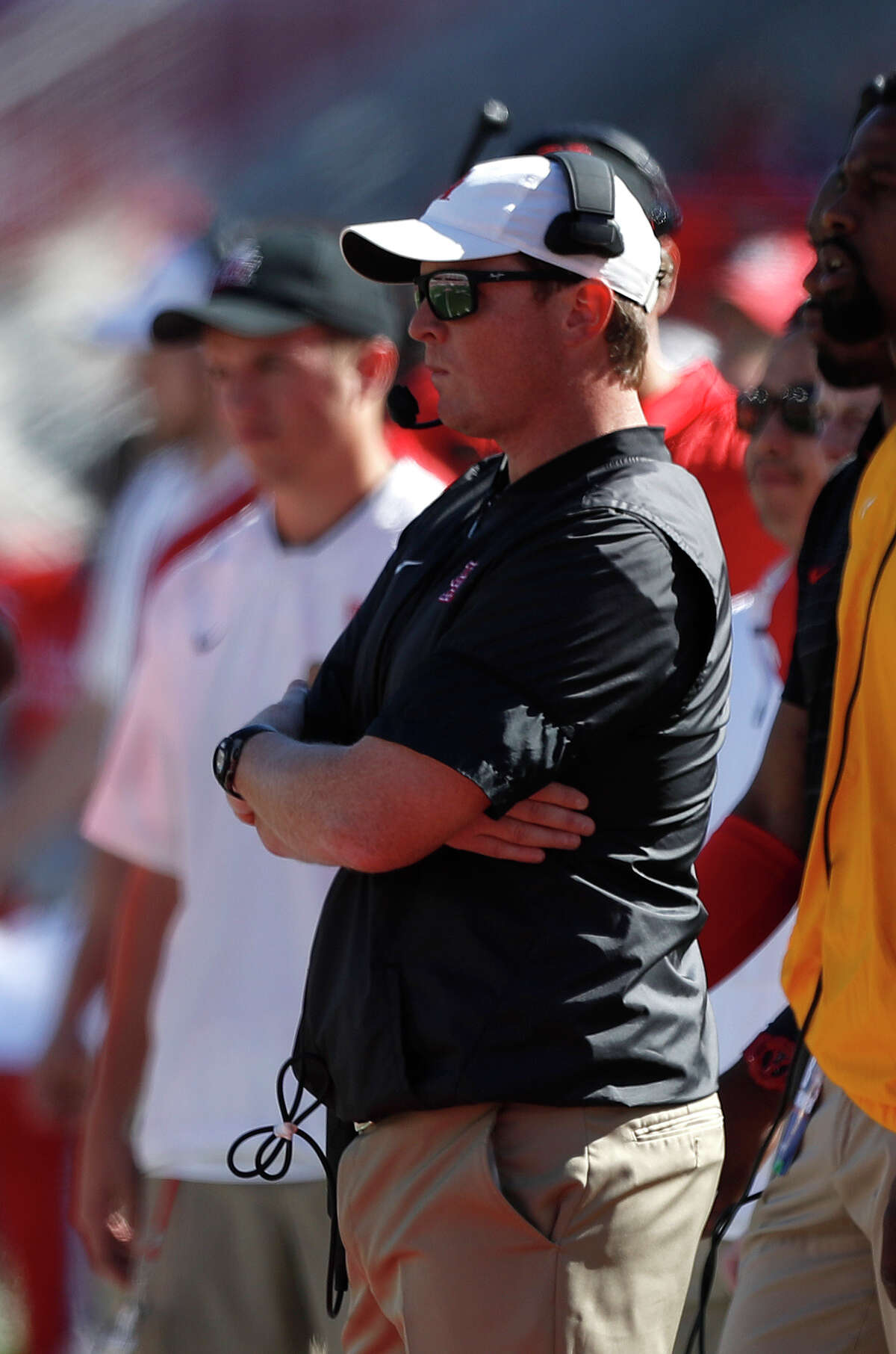 Houston Cougars head coach Major Applewhite in the first half of a college football game at TDECU Stadium, Friday, Nov. 24, 2017, in Houston.