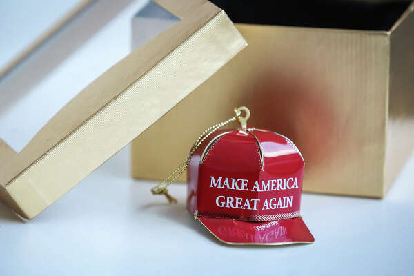 "A ""Make America Great Again"" ornament is arranged for a photograph in New York on Dec. 15, 2016. ("