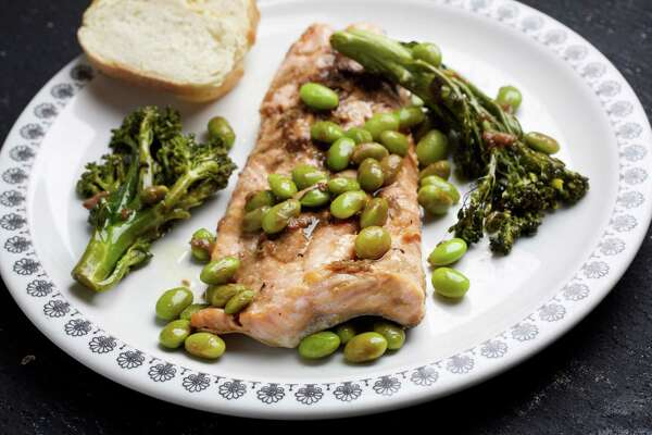 Arctic Char, Broccolini and Edamame With Soy-Ginger Sauce.