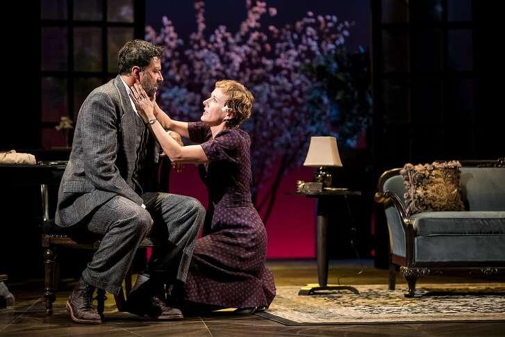 "From left: Elijah Alexander as Kurt Muller and�Sarah Agnew as Sara Muller in Berkeley Repertory Theatre's ""Watch on the Rhine."""
