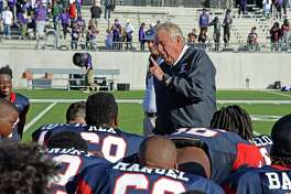 Lamar Head Coach Tom Nolen talks to his team following their 36-29 win in a 6A-III area playoff football game against the Ridge Point Panthers on November 23, 2017 at Legacy Stadium, Katy, TX.
