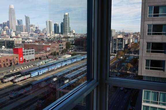 A view of the Caltrain yard at 4th and Townsend Streets from Bruce Agid's apartment in San Francisco, CA, on Friday November 24, 2017.