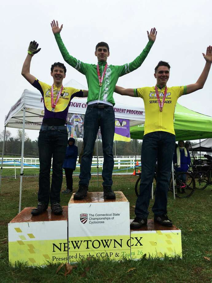 At the podium, Wyatt Cote, 17, of Burlington, first place; Kyle Mullally, 16, of Wethersfield, second place; and Ryan Zwick, 16, of Wethersfield, third place. Photo: Contributed Photo /Not For Resale
