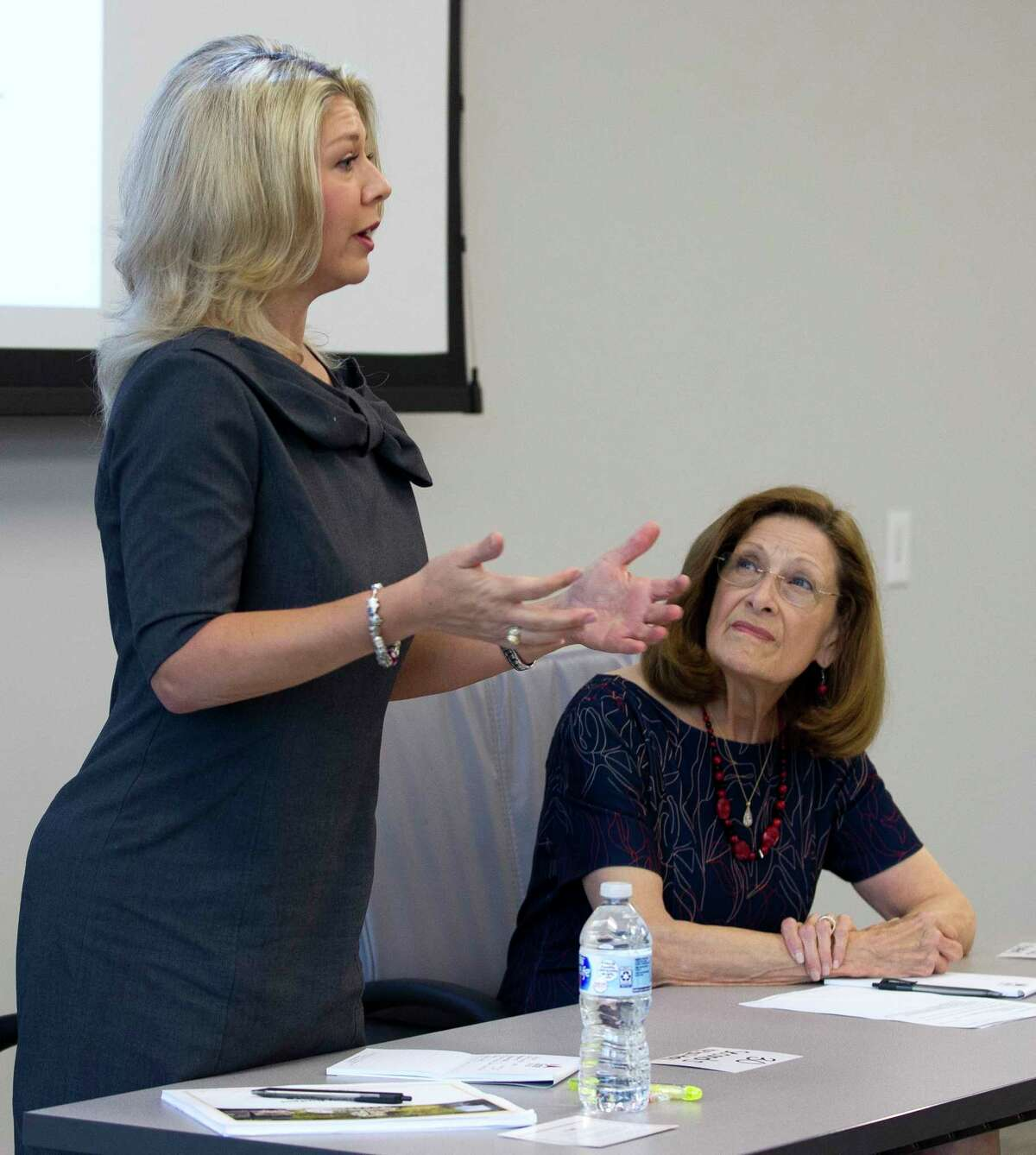 Laura Fillault, incumbent position 7 candidate for The Woodlands Township Board of Directors, speaks during a candidate forum at The Woodlands Area Chamber of Commerce, Friday, Sept. 22, 2017, in The Woodlands.