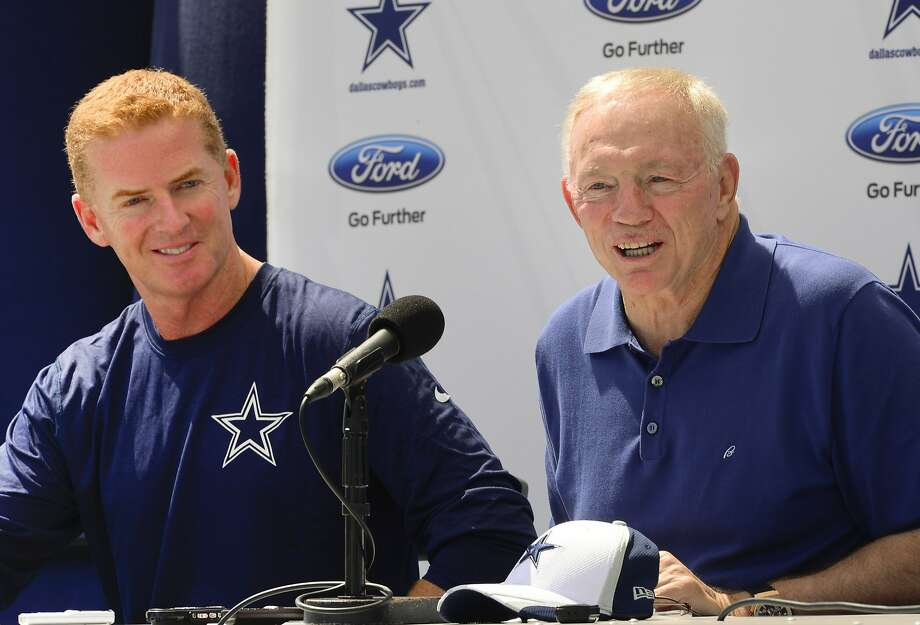 "Dallas Cowboys head coach Jason Garrett, left, and owner Jerry Jones, right, speak at the ""State of the team"" news conference during NFL football training camp on Wednesday, July 23, 2014, in Oxnard, Calif. (AP Photo/Gus Ruelas) Photo: Gus Ruelas, AP"