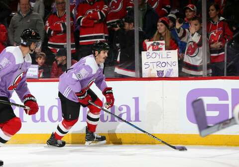 ab7be4111f2 Brian Boyle scores on 'Hockey Fights Cancer Awareness Night ...